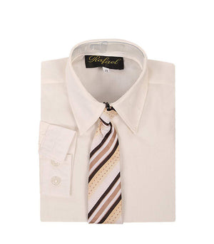 Boys Ivory Long Sleeve Formal Dress Shirt and Tie
