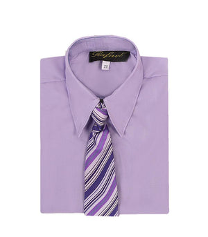 Boys Lilac Long Sleeve Formal Dress Shirt and Tie