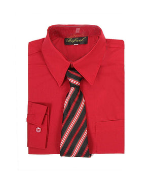 Boys Red Long Sleeve Formal Dress Shirt and Tie