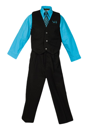 Boys Pinstripe Vest Suit with Turquoise Shirt and Tie