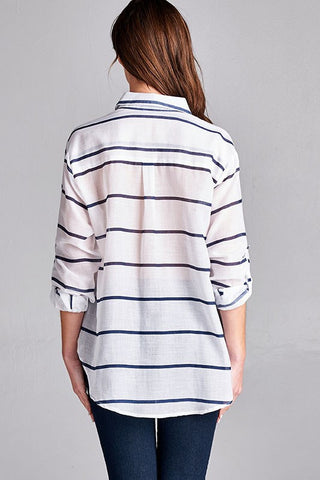 Southern Muse Stripe Button Down Top