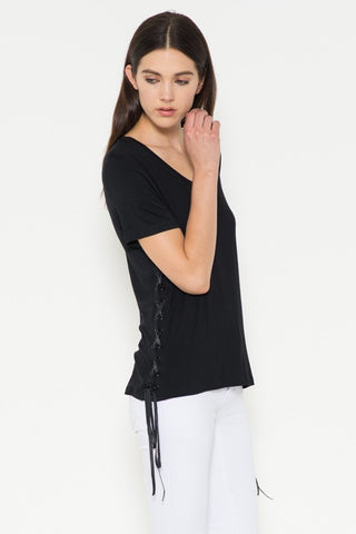 Leather Lace Up Tee