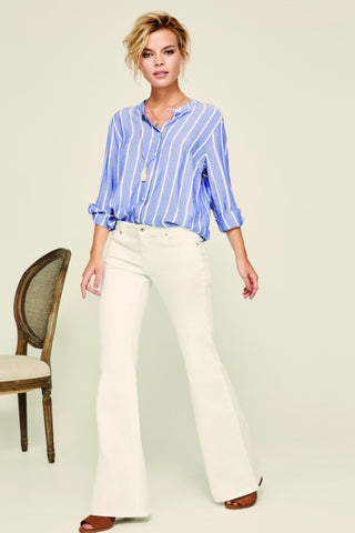 "Dex ""Black Tape"" Blue Stripe Top - Shop Southern Muse"