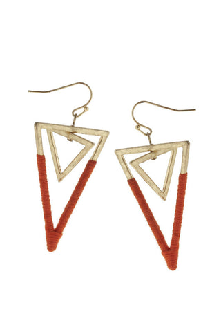 Fabric Wrapped Double Triangle Earrings - Shop Southern Muse
