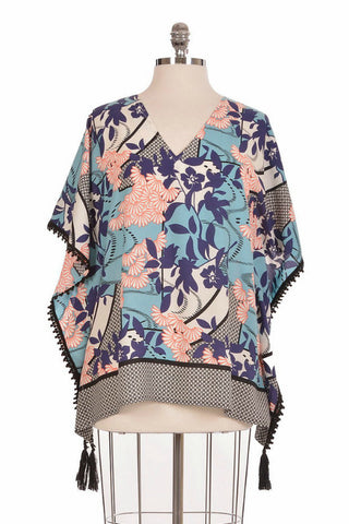 Joy Joy Floral Border Poncho Top - Shop Southern Muse