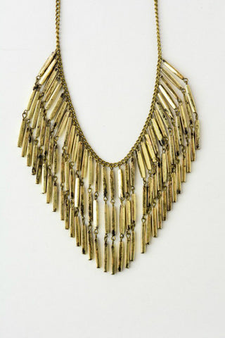 Gold Fringe Bar Statement Necklace - Shop Southern Muse