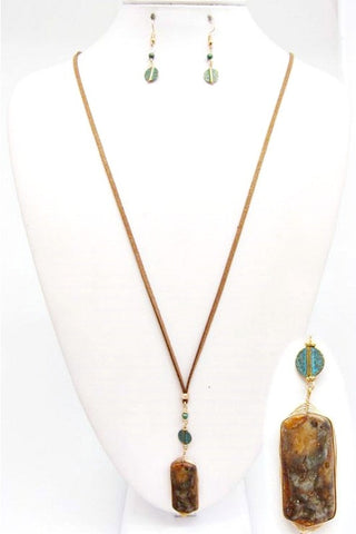 Wire Wrapped Jasper Stone Necklace Set
