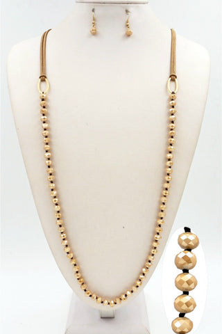 Brown Leather and Champagne Knotted Crystal Necklace Set - Shop Southern Muse