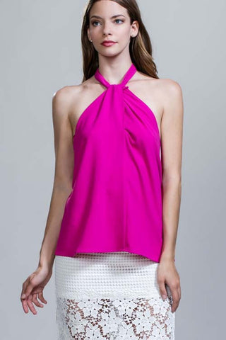 Magenta Criss Cross Tie Top