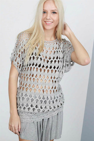 Grey Open Knit Sweater - Shop Southern Muse
