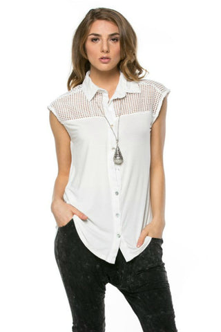Knit Shoulder Button Down Top