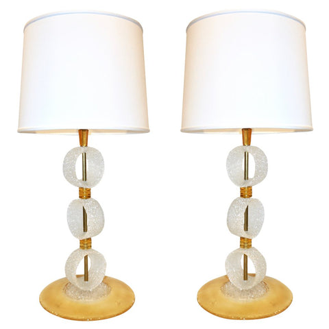 Italian 1970s Vintage Curved Pair of Brass & White Amber Gold Murano Glass Lamps