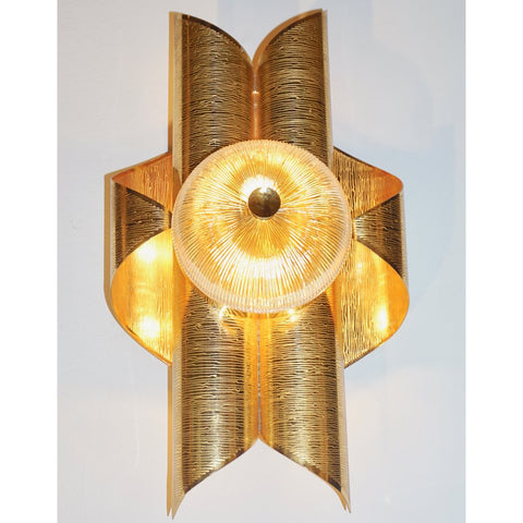 Vintage Late 1970s Modern Design Pair of Folded Brass and Clear Glass Sconces