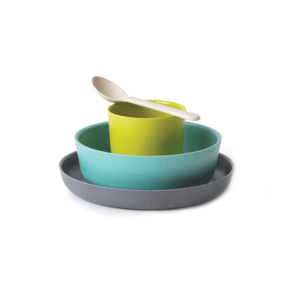 Fun and modern kids tableware/dishware set by EKOBO made of bamboo fibre  at Port of Raleigh