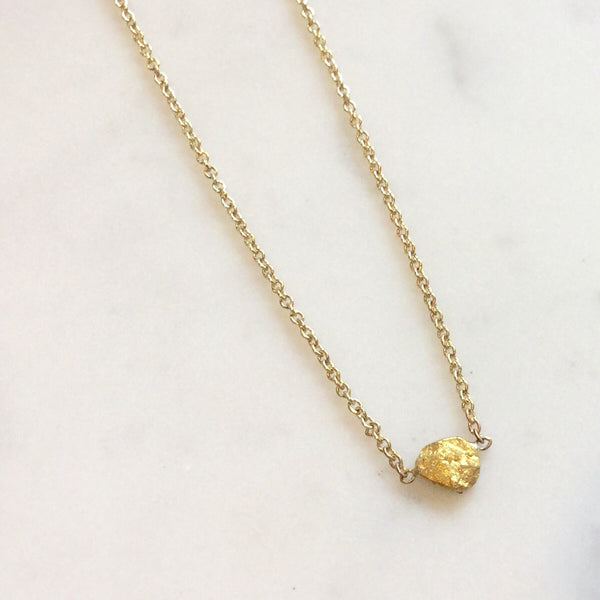 Raw Gold Nugget Necklace - Small at Port of Raleigh