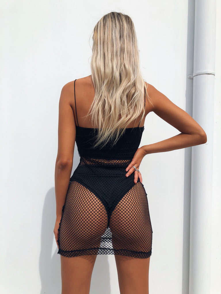 PAIGE FISHNET DRESS BLACK