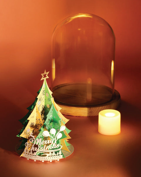 Xmas Tree with Bell jar and LED candle light (Green/Gold)