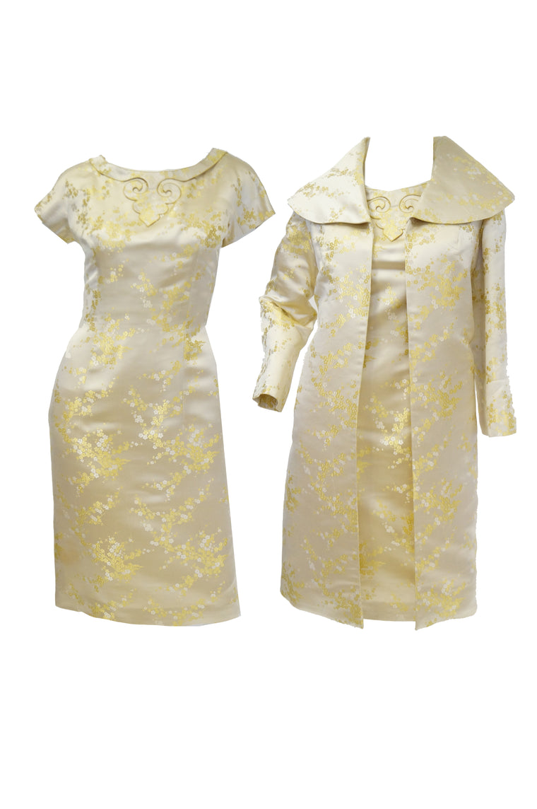 1960s Hong Kong Gold Cherry Blossom Floral Brocade Cocktail Dress and Coat