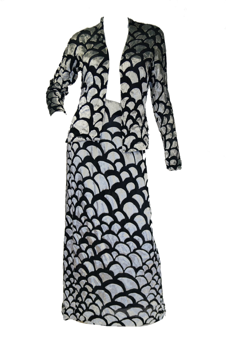 1970s Pauline Trigere Black & Silver Burnout Velvet Evening Dress Ensemble
