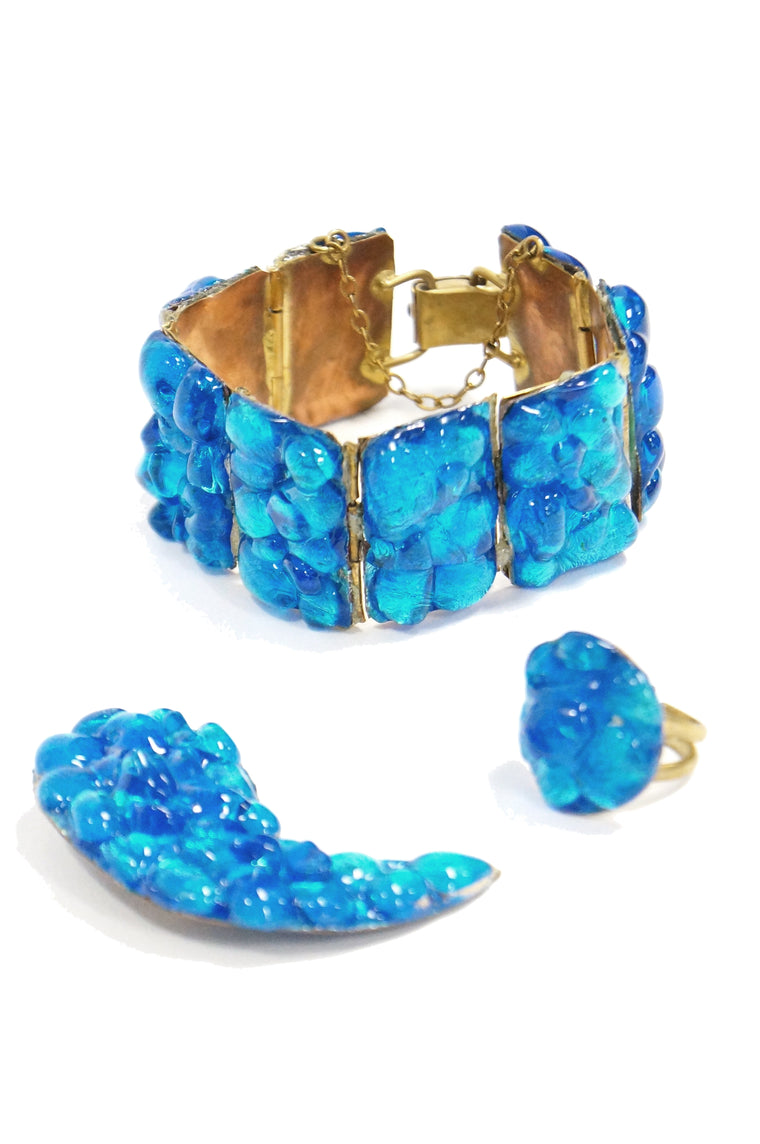 1950s Atomic Age Blue Molded Glass on Foiled Copper Demi Parure