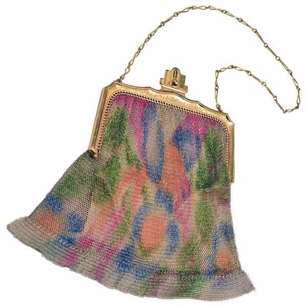 1930s Whiting & Davis Art Deco Painted Mesh Purse