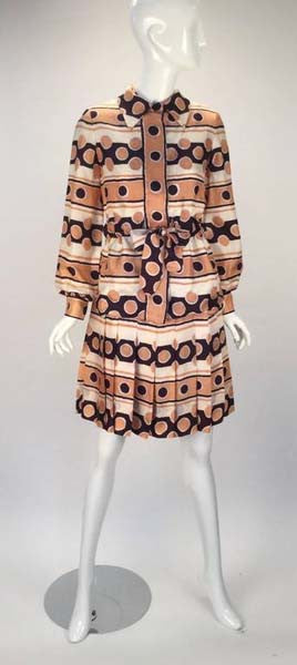 Early 1970s Oscar de la Renta Silk Mod Print Dress and Jacket