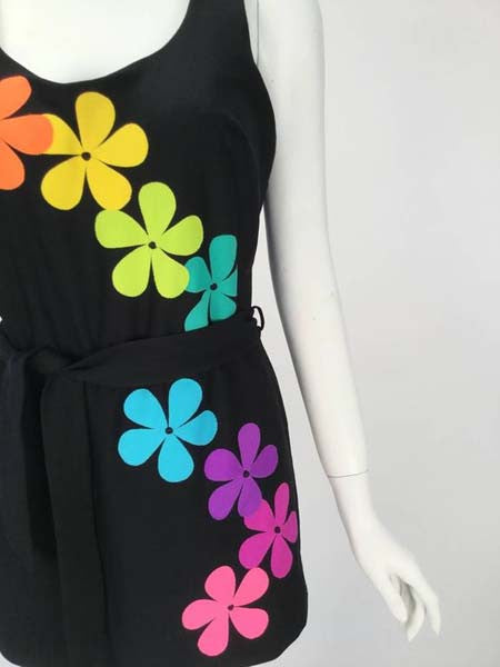 1970s Deweese One Piece Mod Flower Power Skirted Swimsuit