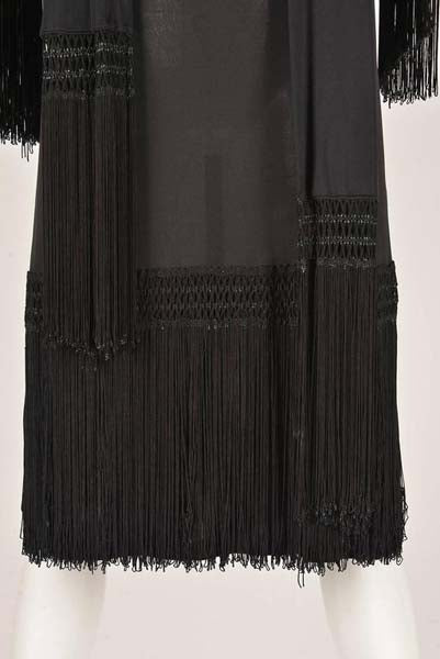 1960s Pucci Black Silk Jersey Fringe Dress