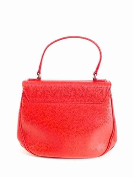 Vintage Oscar de la Renta Red Leather Top Handle Double Flap Saddle Bag