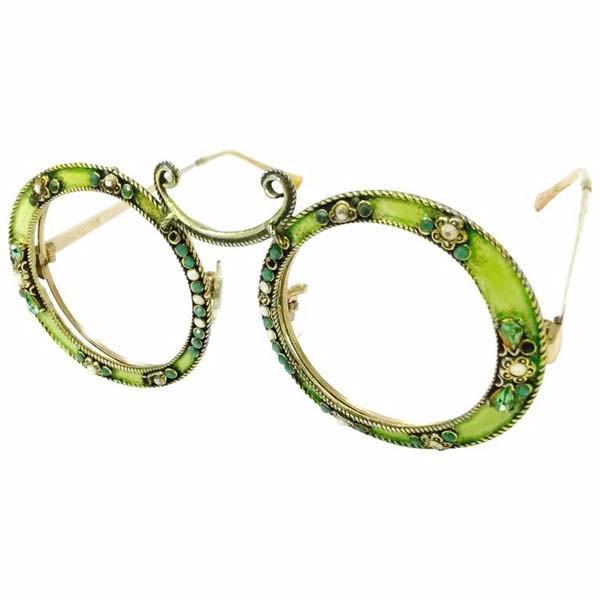 1960s Christian Dior Gold Filled Green Enamel Round Eye Sunglasses Frame