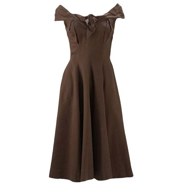 1930s Claire McCardell Brown Boatneck Dress