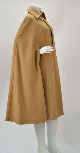 1970s Classic Celine Tan Wool Cape