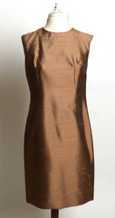 Circa 1940s/50s Brown Raw Silk Sheath Dress
