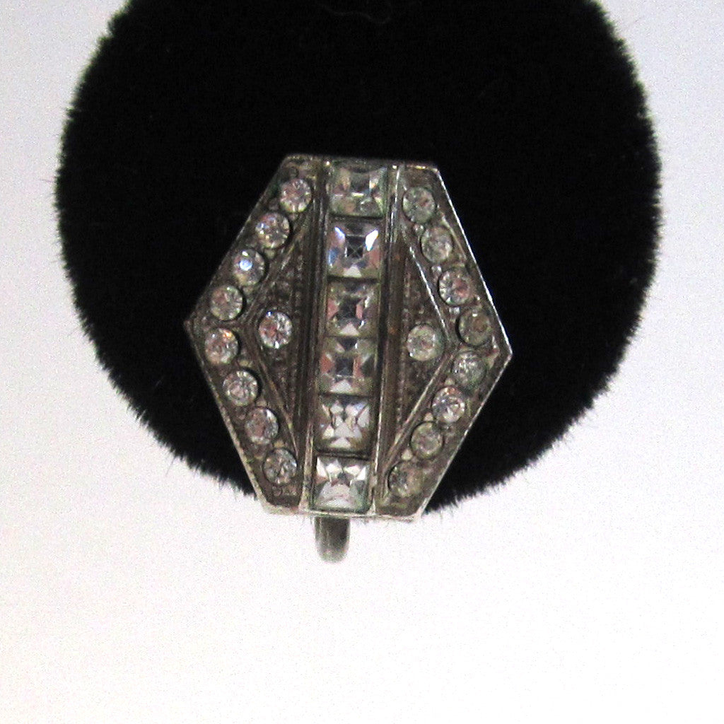 Circa 1930s Art Deco Sterling Silver Paste Hexagonal Earrings