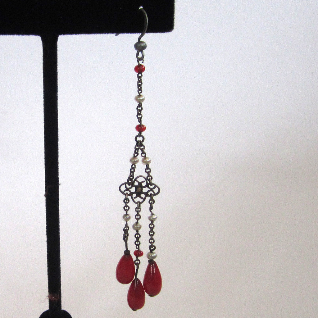 Art Deco Sterling Silver Red Glass & Faux Pearl Earrings