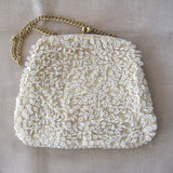 Cream-Colored Beaded and Sequin Handbag
