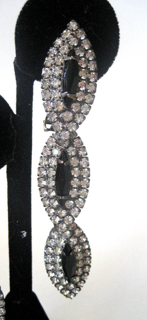 Articulated Black and Clear Rhinestone Line Earrings