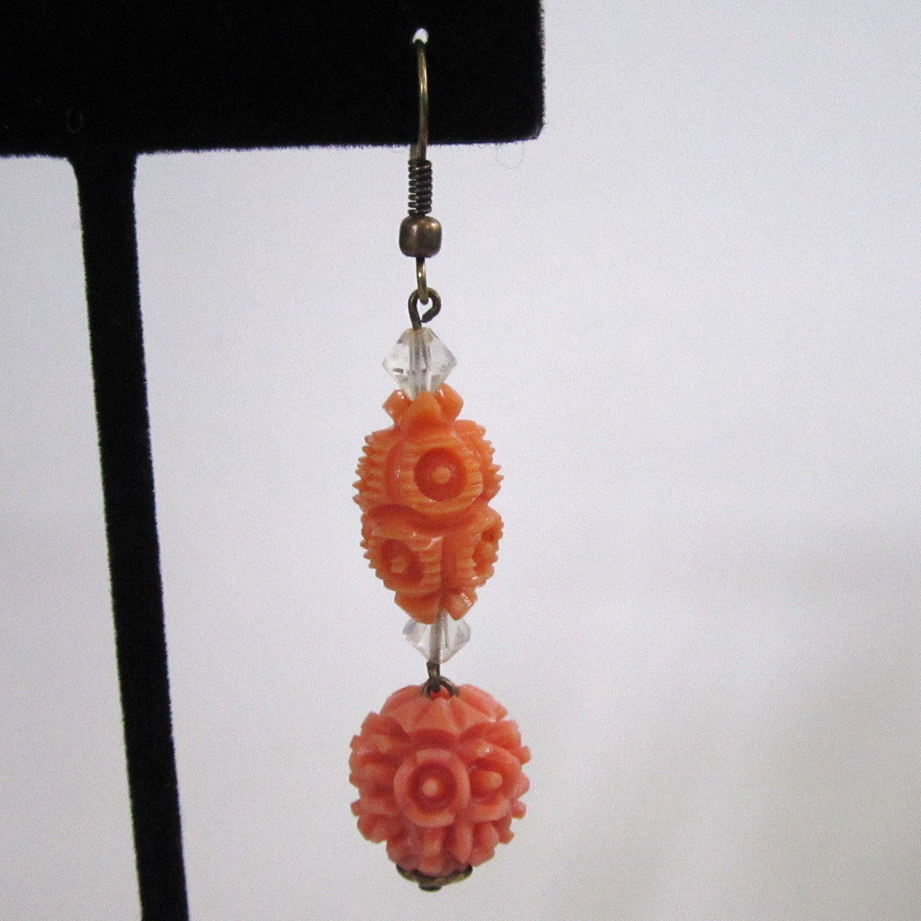 Art Deco Plastic Coral Bead Earrings