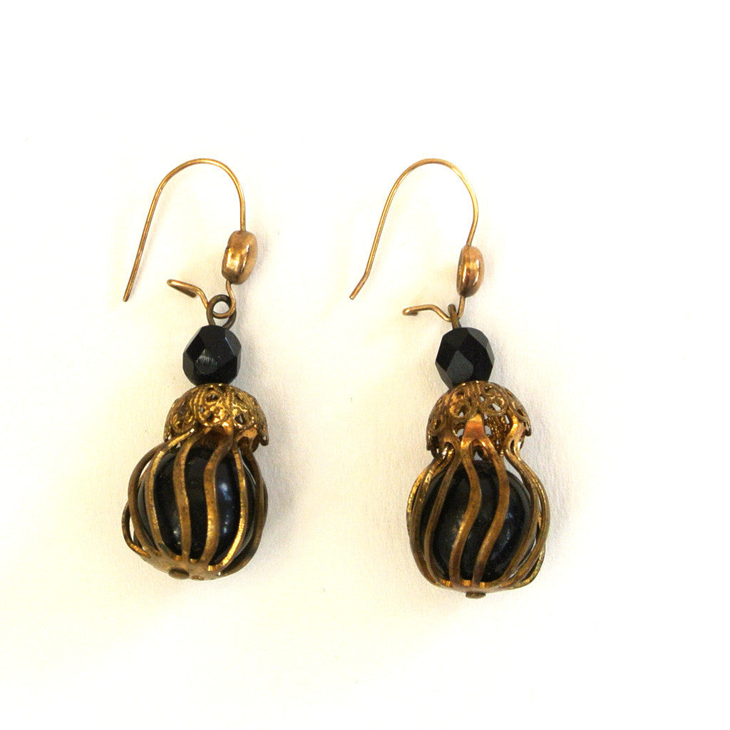 Black Caged Ball Earrings