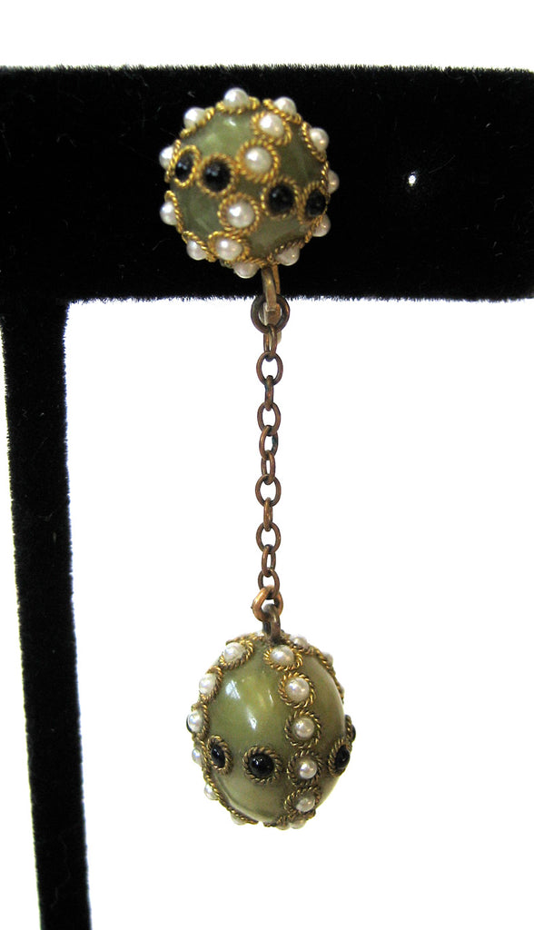 Circa 1920s Faux Pearl and Black Bead Olive Green Earrings