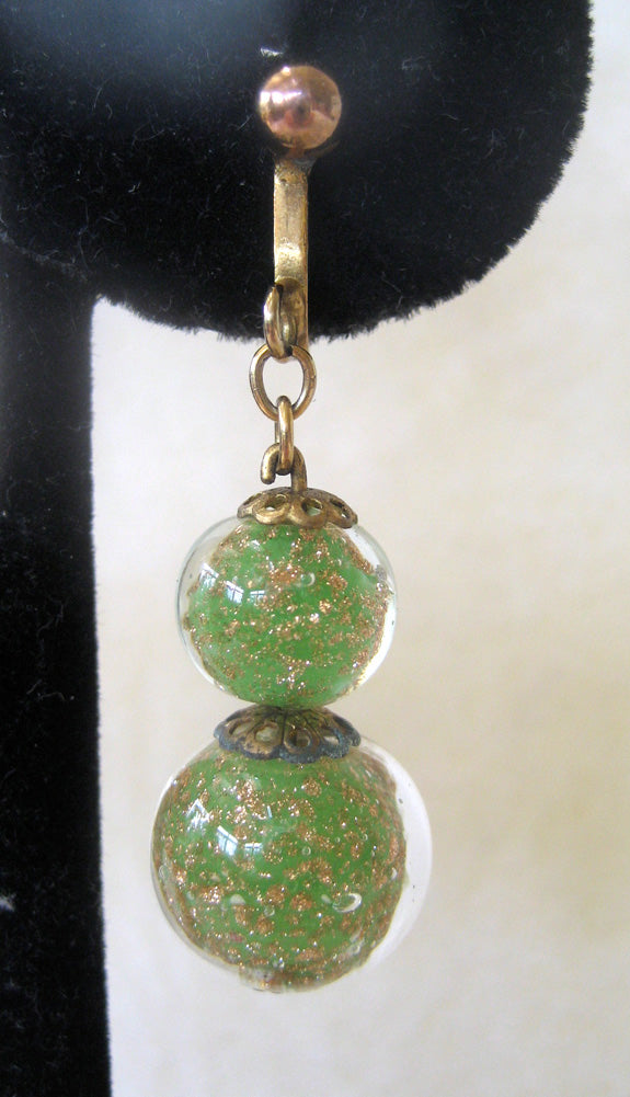 Art Deco Green and Gold Colored Glass Ball Drop Earrings
