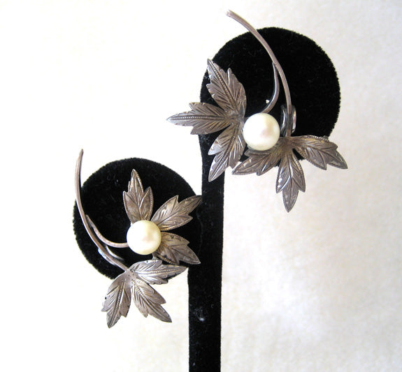 Circa 1950s Sterling Silver and Pearl Leaf Earrings