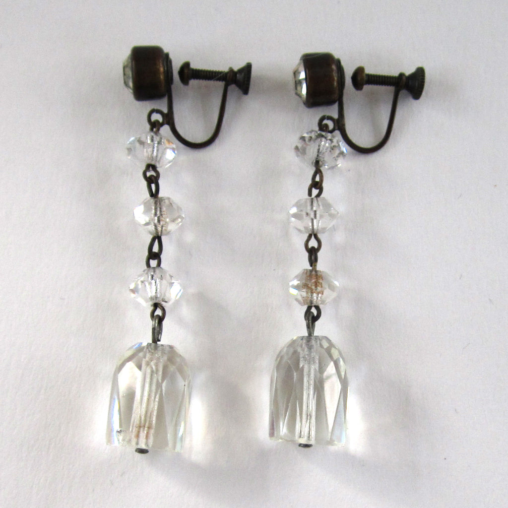 Art Deco Triple Crystal Cut Glass Earrings