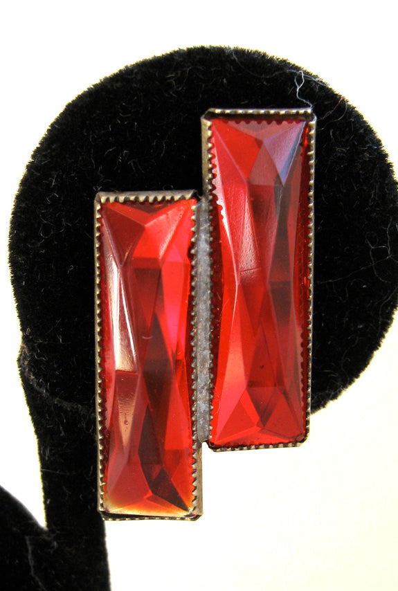 Art Deco Sterling Silver Red Glass Double Rectangle Earrings