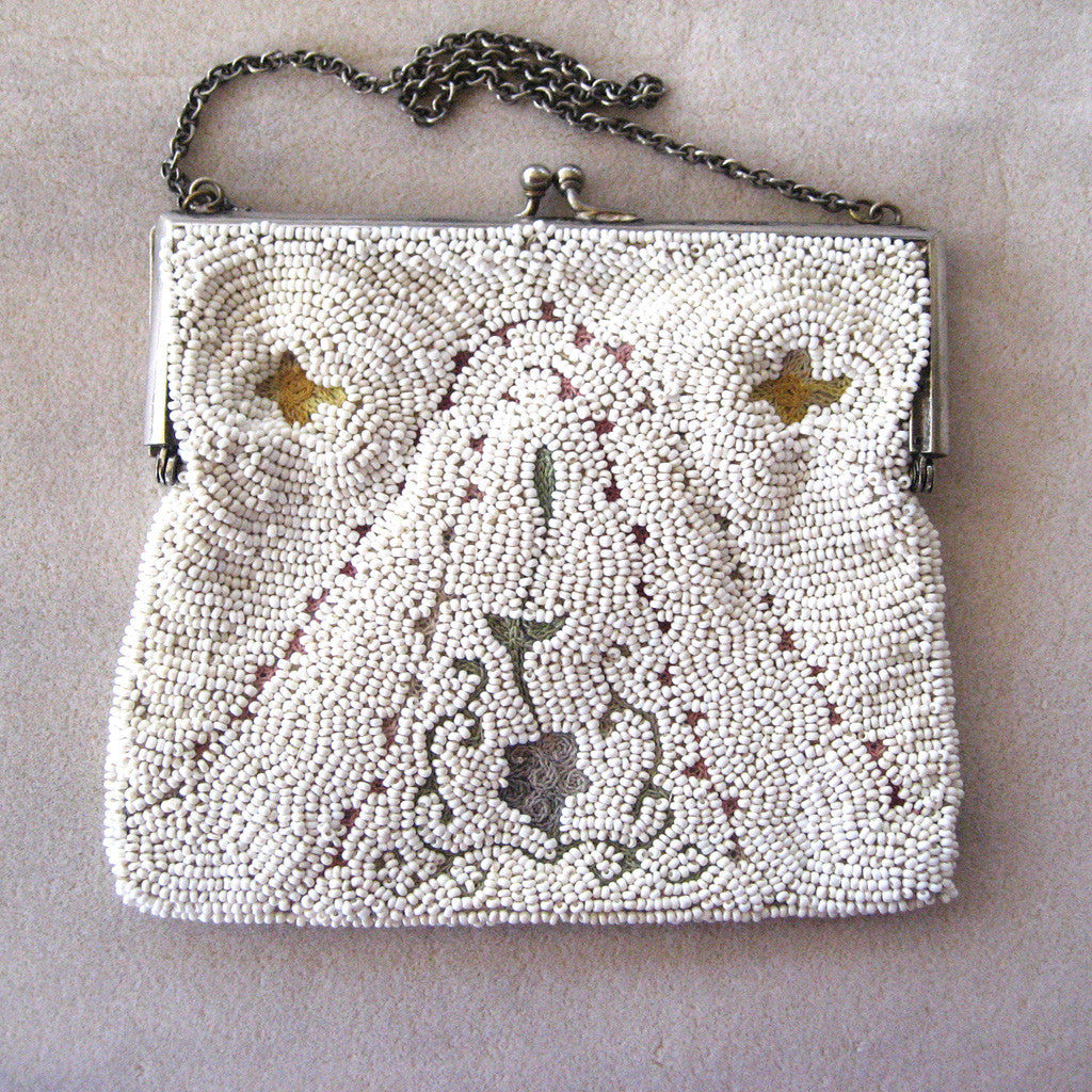 1920s European Embroidered Beaded Tambour Purse/Handbag