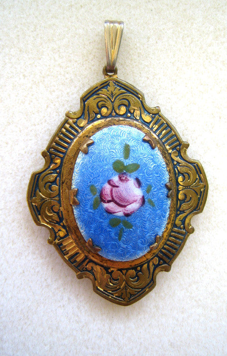 Brass Locket Pendant/Necklace with Enameled Floral Plaque