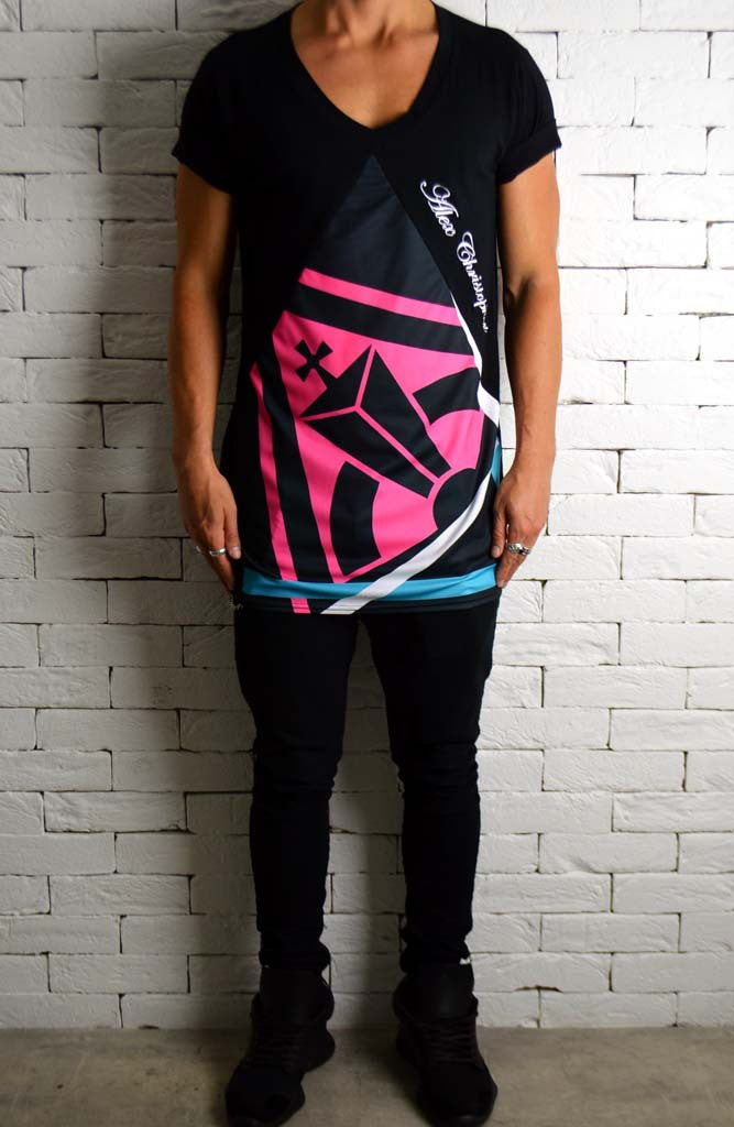 Retro Sublimation V Neck | Longline T-Shirts | Alex Christopher