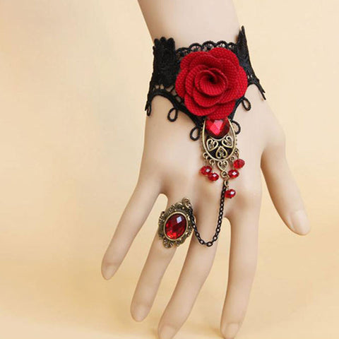 Red Rose Bracelet with Adjustable Finger Ring