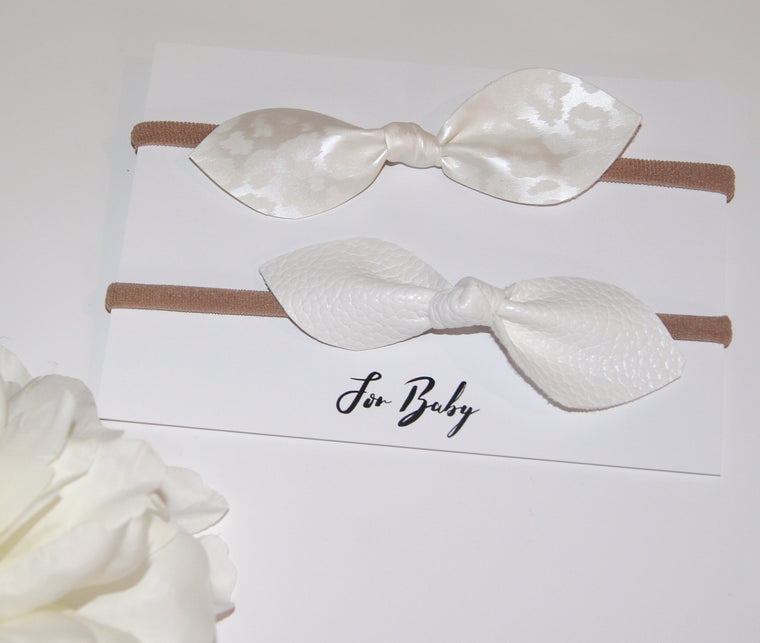 Leather Hair Bow Duo- White Leopard print