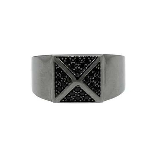 Blackened 18k Gold Black Diamond Ring St Marks for Men - Mander Jewelry
